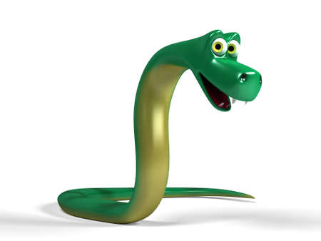 Portrait of a cute, happy looking cartoon snake Stock Photo - 8434784