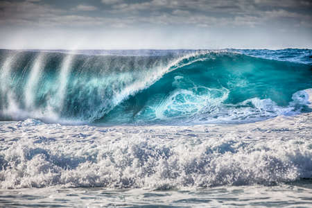banzai pipeline: Shot at paradisiac islands of Hawaii Stock Photo