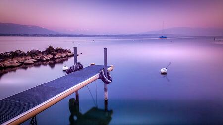 leman: Coastline of the Leman Lake Stock Photo