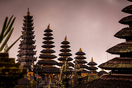 thatch: Several thatch roofes at Besakih the largest buddhist temple in Bali