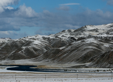 Winter mountains in Mongolia