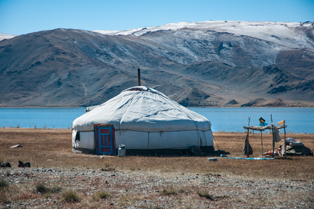 Mongolia nomads house called ger oryurt in the vast nomadland of winter mongolia