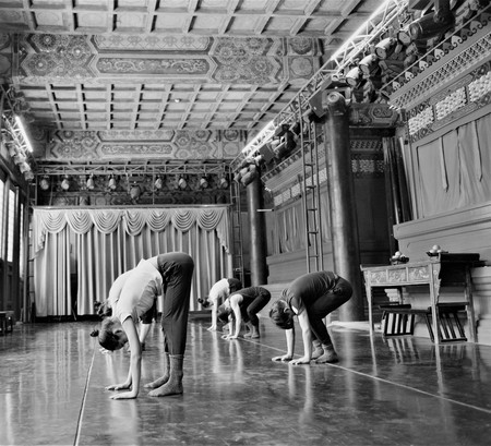 Young japanese ballet dancers practice performance in an acient temple in Tokyo Japan Editorial