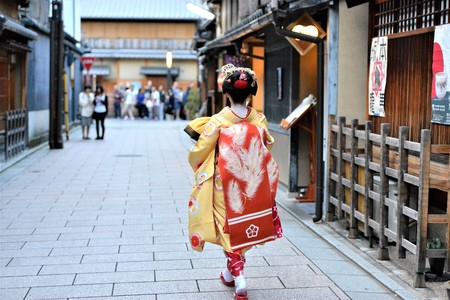 Traditional kimono costumes outfit in Kyoto Japan