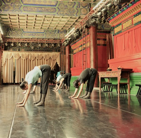 Japanese ballet dancers practice performance in an aciant temple in Japan Editorial