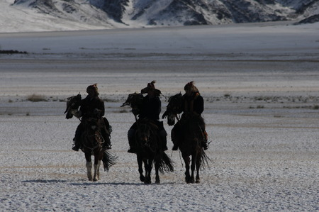 Mongolian horse in the snowy mountains in the winter of mongolia during the golden eagle festival