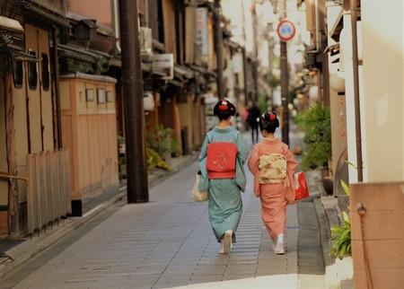 Traditional kimonon costumes in Kyoto Japan Archivio Fotografico