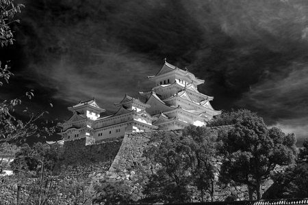 himeji temple with the dark sky above Editorial
