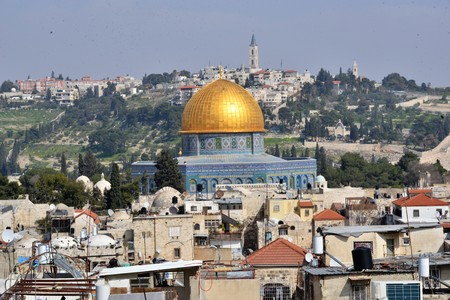 View of the old city of Jerusalem Israel seen from the roofs is the temple mount as the golden dome