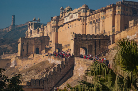 amber fort a suburb of jaipur india is known with their elephant convoys that carry up the hill all the tourist