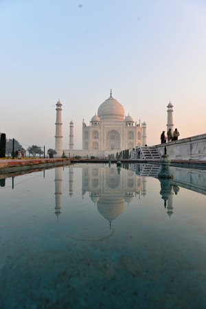 surise on the holy beautiful mausoleum of Taj Mahal in agra india