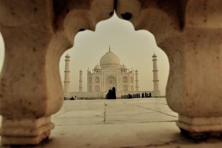 surise on the holy beautiful mausoleum of Taj Mahal in agra india