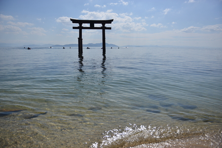 Holi shrine in the blue clear water of the pacific ocean in japan