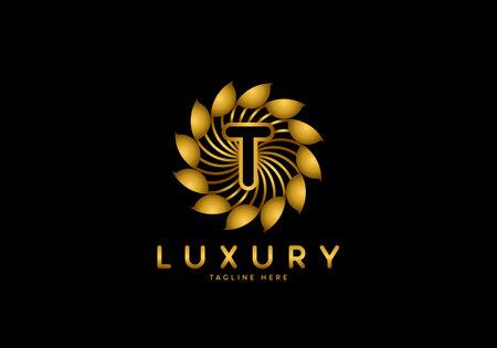 Letter T Golden Flower, Luxury logo template, circle ornament.