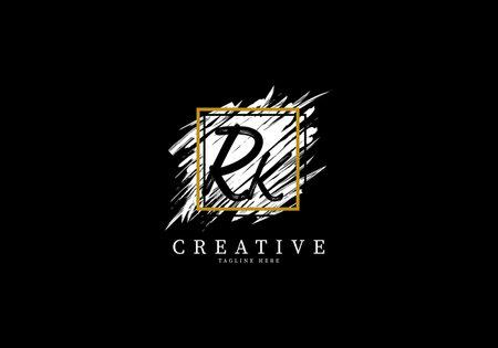 Initial Letter RK Splash Grange Design, Texture Brush with a square grid.