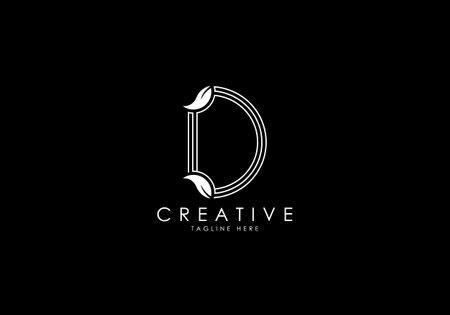 D Letter Linear Leafy Monogram Logo Template, Minimalist design vector.