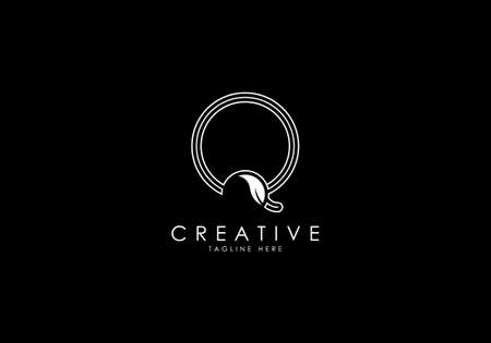 Q Letter Linear Leafy Monogram Logo Template, Minimalist design vector.