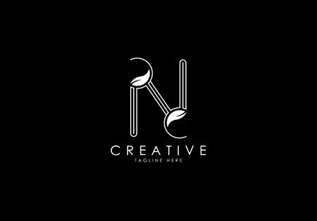 N Letter Linear Leafy Monogram Logo Template, Minimalist design vector.