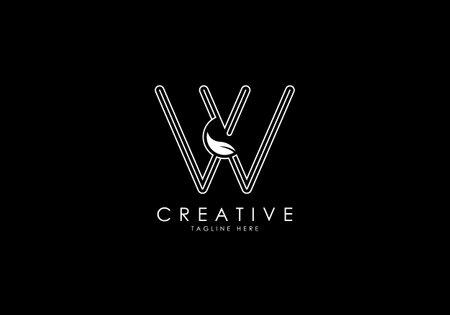 W Letter Linear Leafy Monogram Logo Template, Minimalist design vector.