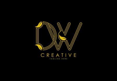 Initial DW Letter Linear Leafy Monogram Logo Template, Minimalist design vector.