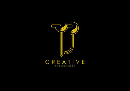 Initial TJ Letter Linear Leafy Monogram Logo Template, Minimalist design vector.