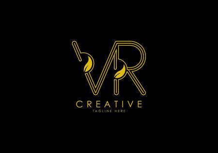 Initial VR Letter Linear Leafy Monogram Logo Template, Minimalist design vector. 向量圖像