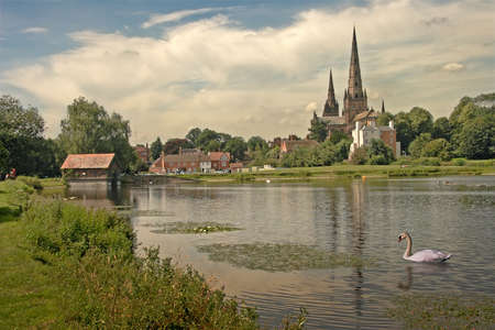 Stowe pool, and Lichfield Cathedral in Staffordshire, England. Stock Photo