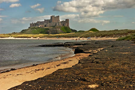 Bamburgh castle, on the coast of Northumberland, England.