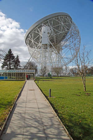 astrophysics: The Jodrell Bank radio telescope, now over 50 years old. When it was built it was the Worlds largest.