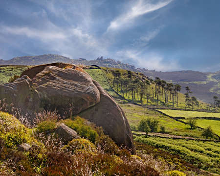 The Moorlands of Staffordshires Peak District, viewed from the Roaches. Stock Photo