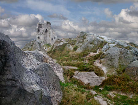 Mow Cop castle stands on top of a hill at the edge of the Cheshire plain in England.