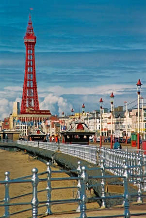 Blackpool Tower is in a prominent position in the UKs largest resort. Stock Photo