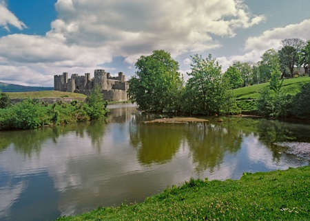 Caerphilly castle was built in less peaceful times during the 13th century. Stock Photo