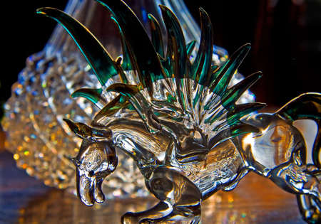Ornamental glassware in the form of Pegasus, from Greek mythology. photo
