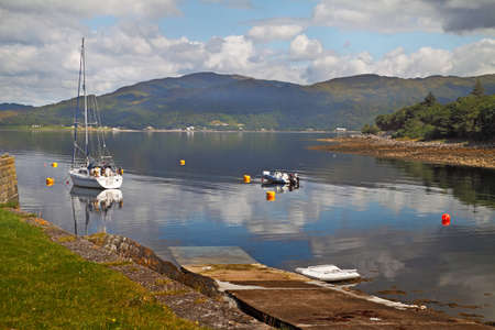 slipway: A slipway for launching boats on Loch Linnhe in Argyll and Bute, Scotland. Stock Photo