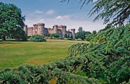 inhabited: Chomondley castle and gardens are in Cheshire, England. Stock Photo