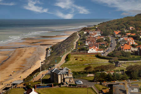 The seaside resort of Cromer in Norfolk, England, photographed from the top of the church tower.