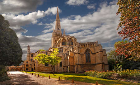 Norwich Cathedral is over 900 years old and a fine example of Norman architecture. Stock Photo