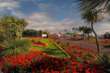 essex: The gardens allong the sea front at Clacton on Sea in Essex, England are very attractive. Stock Photo