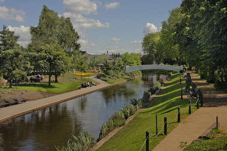 The river Sow flows through the park at Stafford in England.