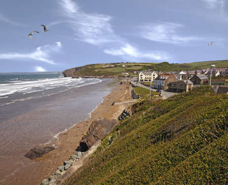 pembrokeshire: Broad Haven is a holiday resort in Pembrokeshire, Wales, UK. It has anexcellent beach. Stock Photo