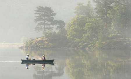 A misty morning on Lake Derwent in the Lake District Cumbria, England  Stock Photo - 16752627