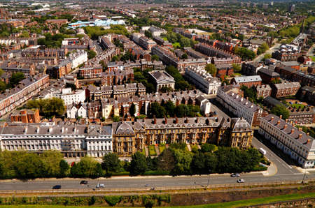 arial views: Liverpool housing viewed from the top of the Church of England cathedral tower.