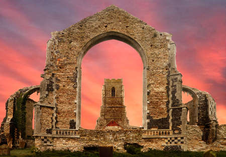 suffolk: The ruined church at Covehithe in Suffolk, England, has been replaced with a smaller building called St Andrews.