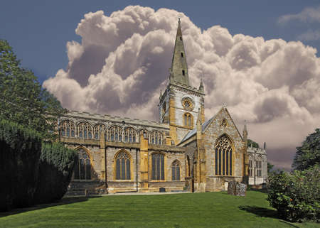 William Shakespeare is buried in this church, which is Holy Trinity Church in Stratford on Avon, Warwickshire, England.