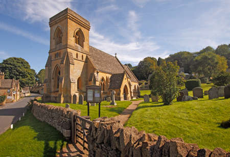 barnabas: St Barnabas Church in the small attractive Cotswold village of Snowshill in Gloucestershire. Stock Photo