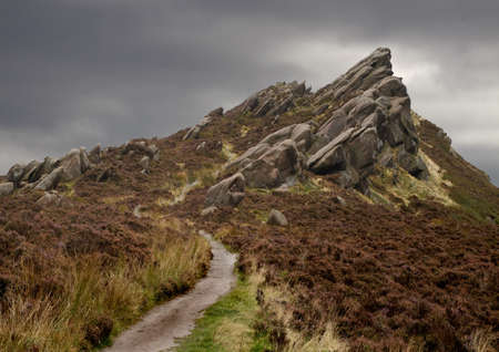 rugged terrain: A few miles North of Leek in Staffordshire, England we see the start of the Peak District with this rugged terrain known as Ramshaw Rocks.