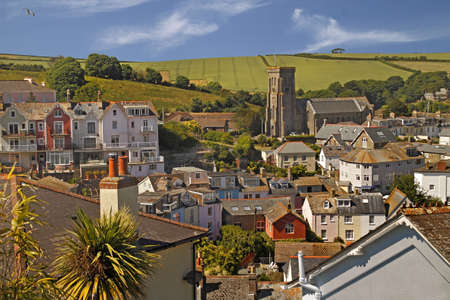 sheltered: Salcombe in Devon, England is a popular holiday resort allongside a sheltered estuary  It has the third highest property prices in the UK, lower only than parts of London and Sandbanks Poole  Stock Photo