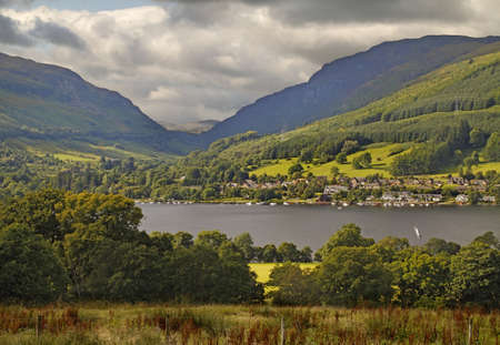 trossachs national park: The village of Lochearnhead is situated at the western end of Loch Earn, in the Loch Lomond and Trossachs National Park in Scotland.