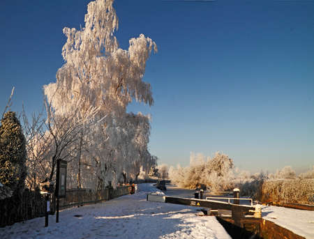mersey: A winter scene in Staffordshire, England, by the Trent and Mersey canal, which was built by James Brindley in 1777  Stock Photo
